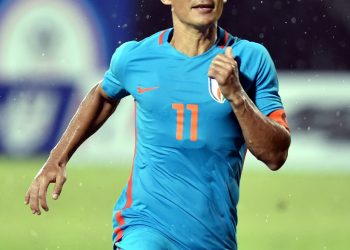 Sunil Chhetri  celebrates after striking a goal against Kenya during their Hero Intercontinental football Cup, in Mumbai, Monday