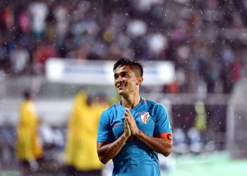 Sunil Chhetri greets the spectators after India's victory against Kenya during the Hero Intercontinental Cup in Mumbai, Monday