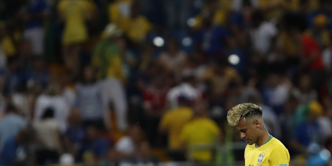 Brazil's Neymar looks dejected after they drew against Switzerland at the Rostov Arena in Rostov-on-Don, Sunday
