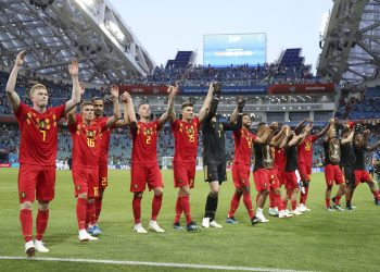 Belgium team celebrate after winning their match against Panama at the Fisht Stadium in Sochi, Russia