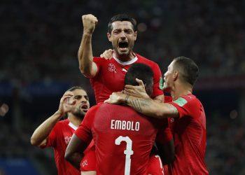 Blerim Dzemaili (top) celebrates after scoring Switzerland's first goal against Costa Rica at the Nizhny Novgorod Stadium, Russia