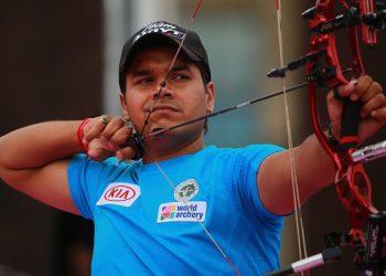 Abhishek Verma takes aim during the Archery World Cup at Salt Lake City, USA, Sunday