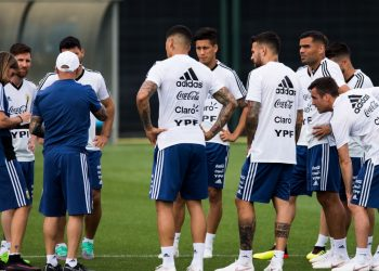 The Argentine team practice ahead of the opening match against Iceland
