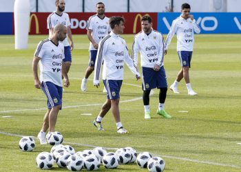 Argentina players during their training session in Russia