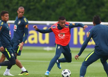 Brazilian players during their training session, Friday