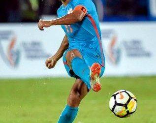 Sunil Chhetri in action against New Zealand in Mumbai, Thursday