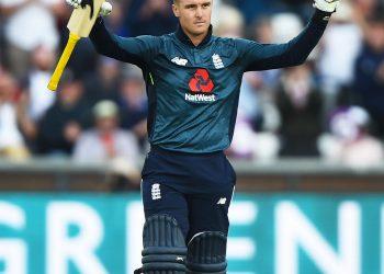 Jason Ray celebrates his century against Australia, Thursday