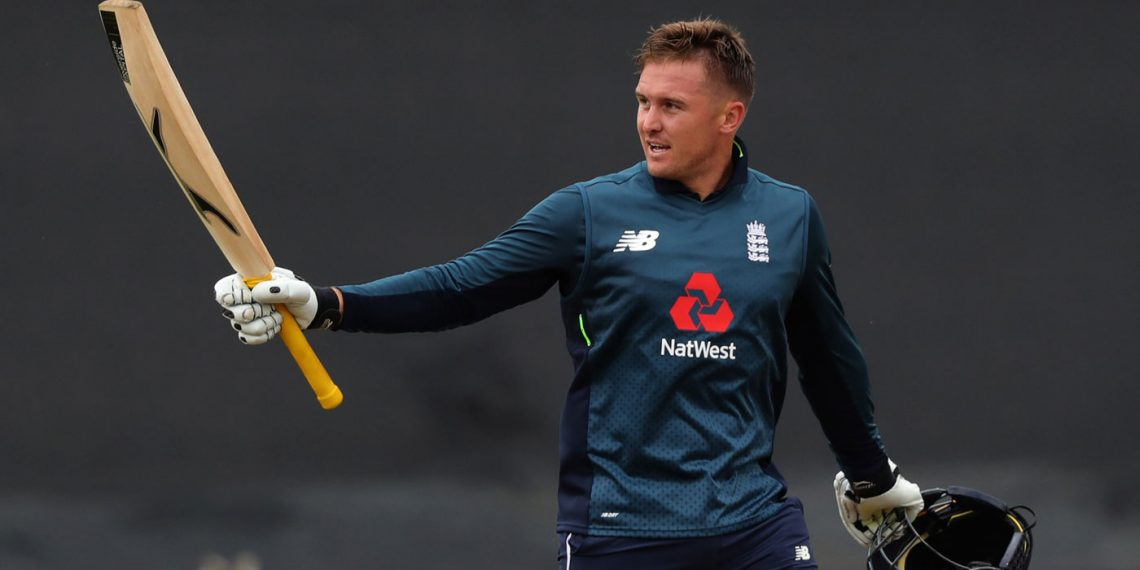 Jason Roy celebrates his century against England at Cardiff, Saturday