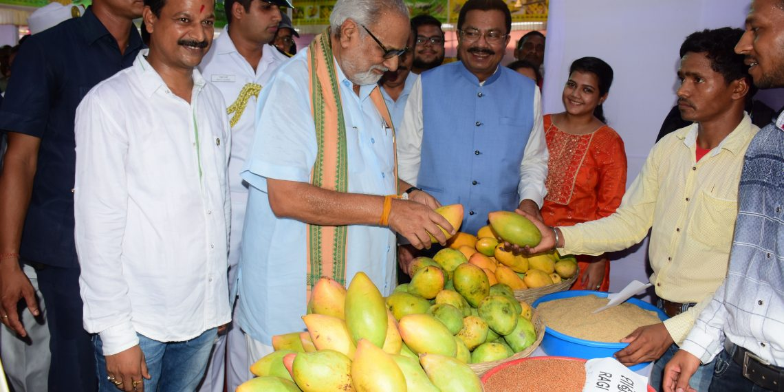 Governor Ganeshi Lal admiring mangoes on display at the second edition of State Level Mango Festival-cum-Exhibition 2018, Friday OP PHOTO