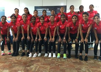 The Indian women's hockey team pose for a photograph before their departure, Saturday
