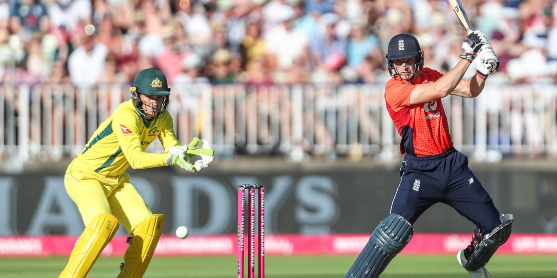 Jos Buttler plays a shot against Australia, Wednesday