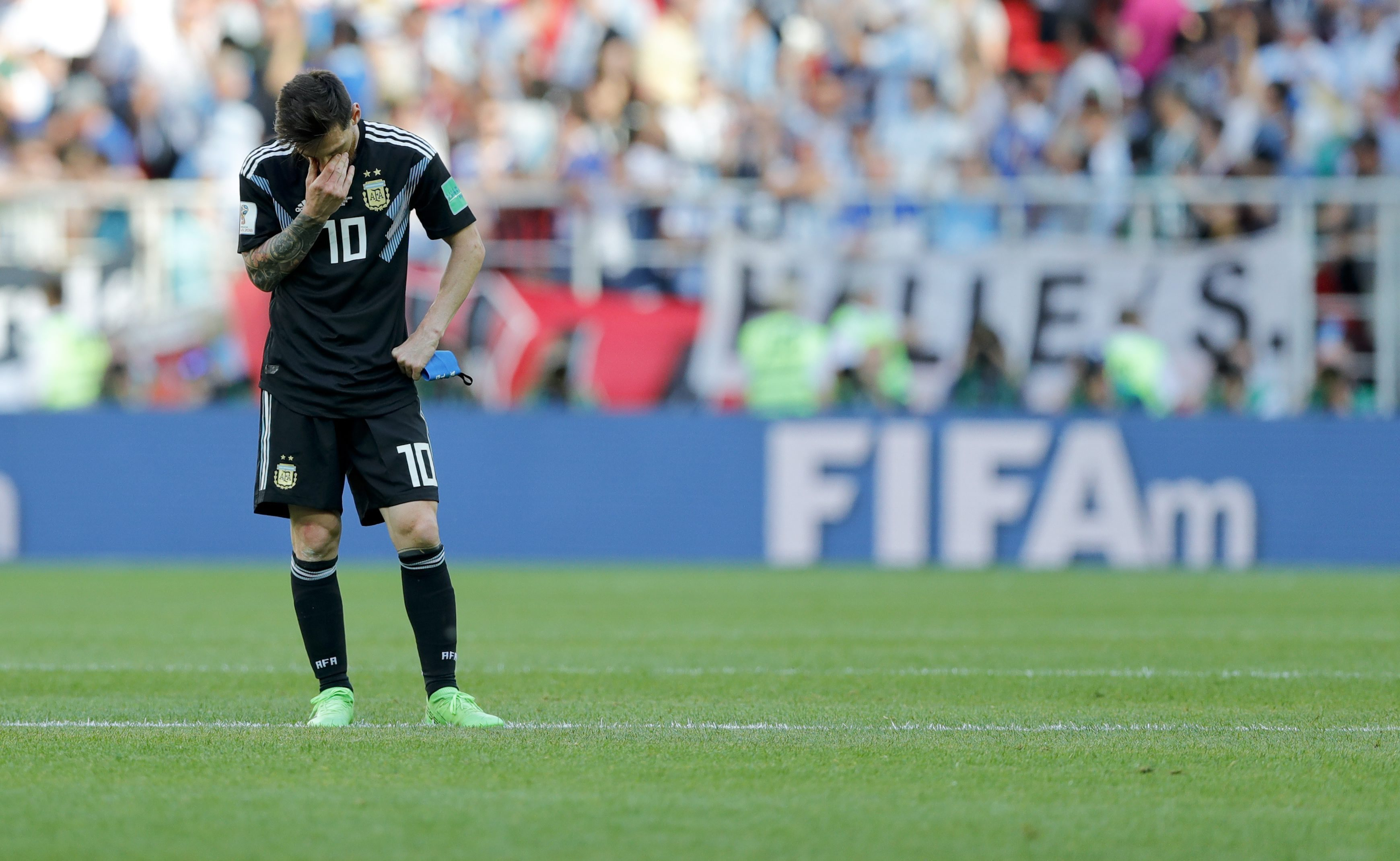 Lionel Messi covers his face after missing the penalty against Iceland at  the Spartak Stadium in Moscow eba7bda53d9b7