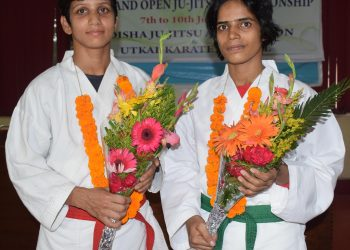 Anupama Swain (L) and Priyadarshini Ghatuary after the felicitation programme at the Utkal Karate School, Tuesday
