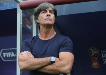 German coach Joachim Loew gesticulates during the match against Mexico, Sunday