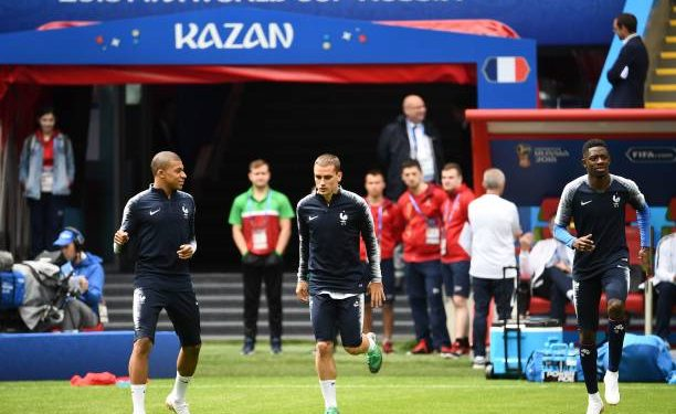 (From L) France forwards Kylian Mbappe, Antoine Griezmann and Ousmane Dembele during a training session in Kazan