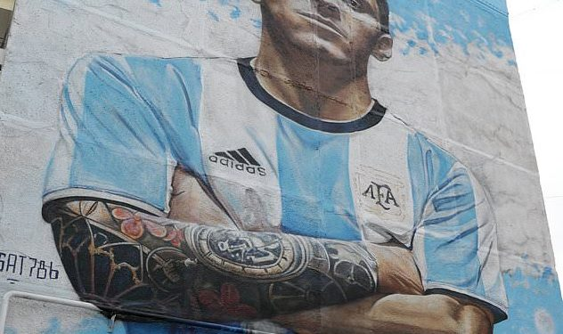 The king-size mural of Lionel Messi at Bronnitsy