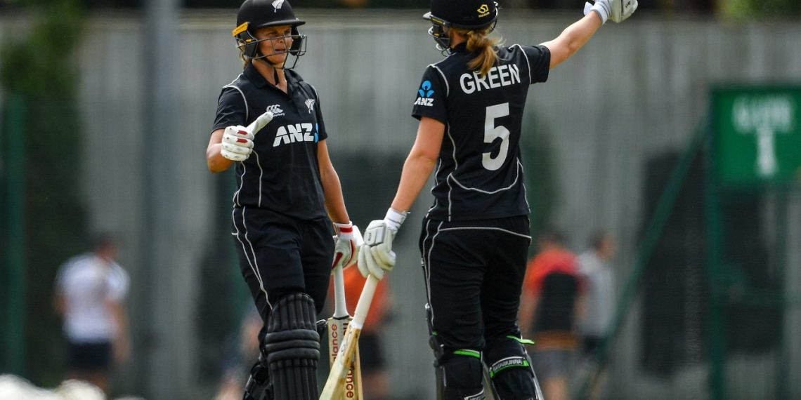 Suzie Bates and Maddy Green during their match against Ireland in Dublin, Friday