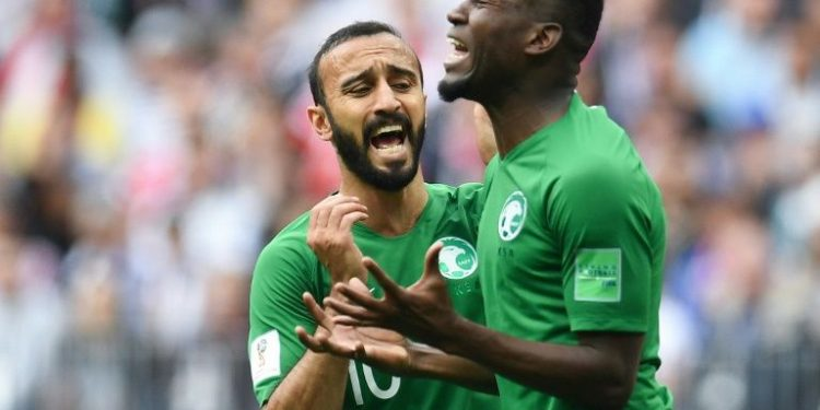 Saudi Arabian show their anger out players after missing out on a goal