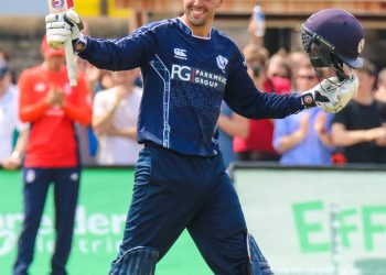 Scotland's Calum Macleod celebrates his century against England at Edinburgh, Sunday