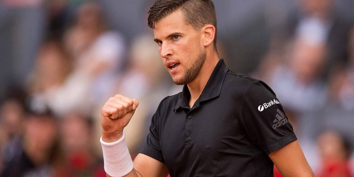Dominic Thiem celebrates after beating Marco Cecchinato at Paris, Friday
