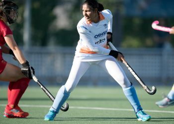 Gurjit Kaur scored two goals for India against Spain, Tuesday