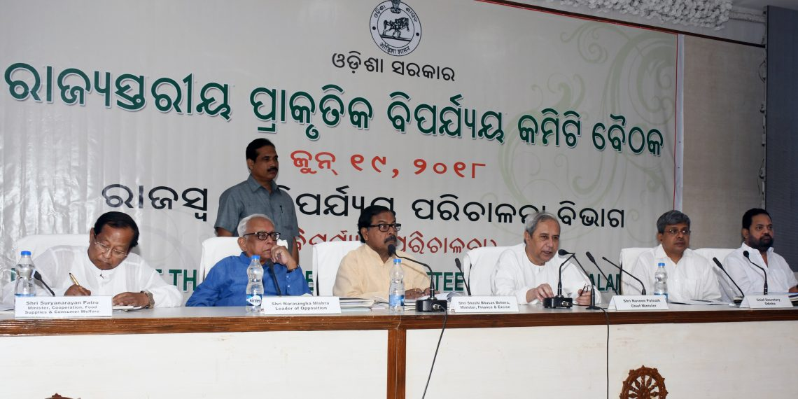 Chief Minister Naveen Patnaik speaks at the state-level natural calamity meeting in Bhubaneswar, Tuesday