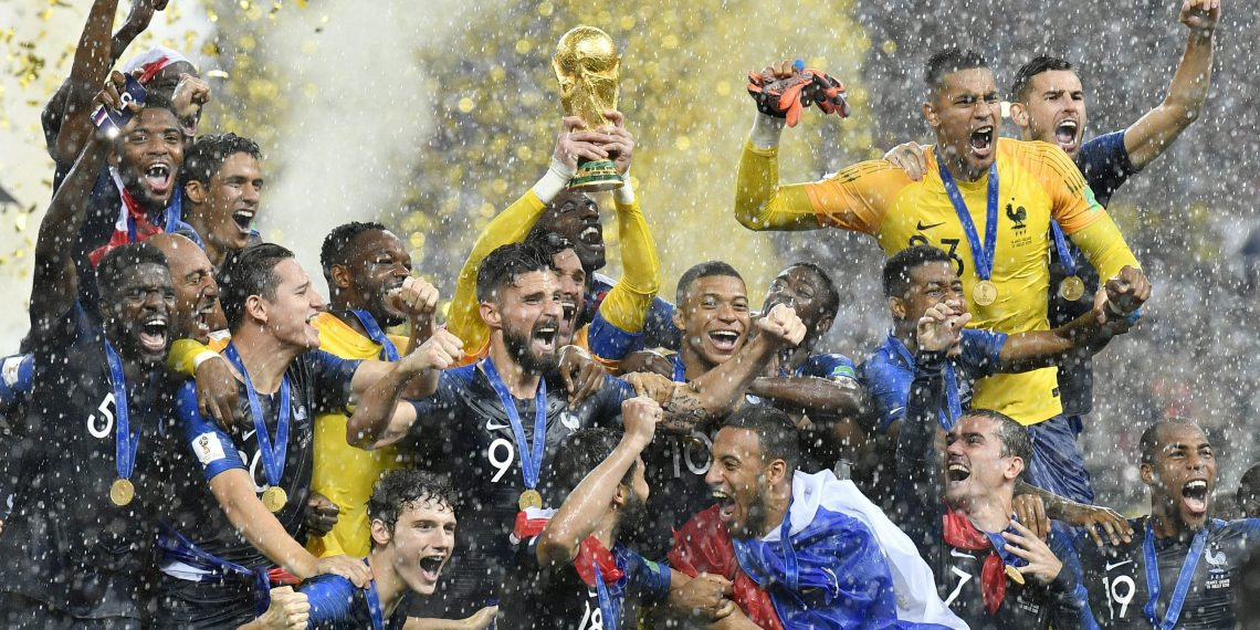 France players celebrate with the World Cup after beating Croatia in the final at Luzhniki Stadium in Moscow, Sunday