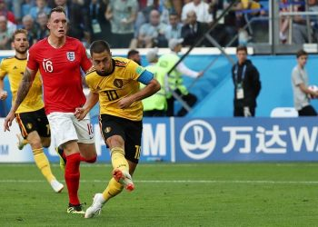 Belgium captain Eden Hazard (10) shoots to score his side's second goal against England and help the nation achieve their best ever World Cup show