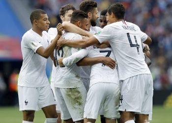 France players celebrate their second goal against Uruguay at the Nizhny Novgorod Stadium, Friday