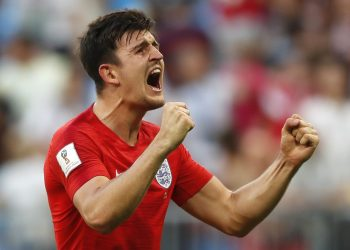 England's Harry Maguire celebrates after scoring against Sweden at the Samara Arena, Saturday