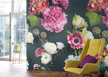 over sized floral wallprint
