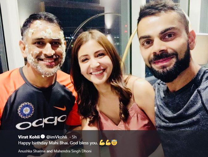 Virat Kohli and his wife Anushka Sharma were there to congratulate MS Dhoni on his birthday Friday night Photo courtesy Virat Kohli Twitter