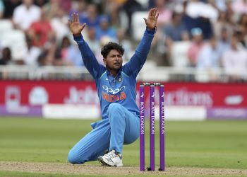 India's Kuldeep Yadav appeals successfully for an English wicket during the first ODI at Nottingham, Thursday