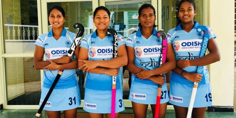 The Odisha quartet of (from left) Lilima Minz, Deep Grace Ekka, Sunita Lakra and Namita Toppo will be playing their maiden World Cup game, Saturday