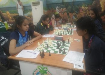 Players ponder over their next moves in the KVS National Sports Meet in Bhubaneswar, Saturday