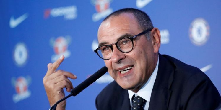 Chelsea's newly appointed manager, Maurizio Sarri, speaks during his unveiling press conference at Stamford Bridge, Wednesday