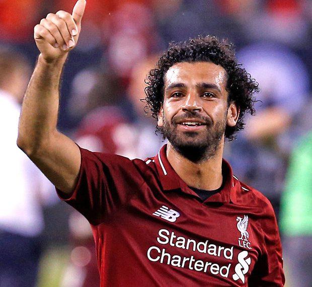 Mohamed Salah celebrates after scoring against Man City, Wednesday