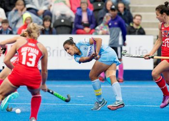 India captain Rani Rampal (C) in action during their match against USA