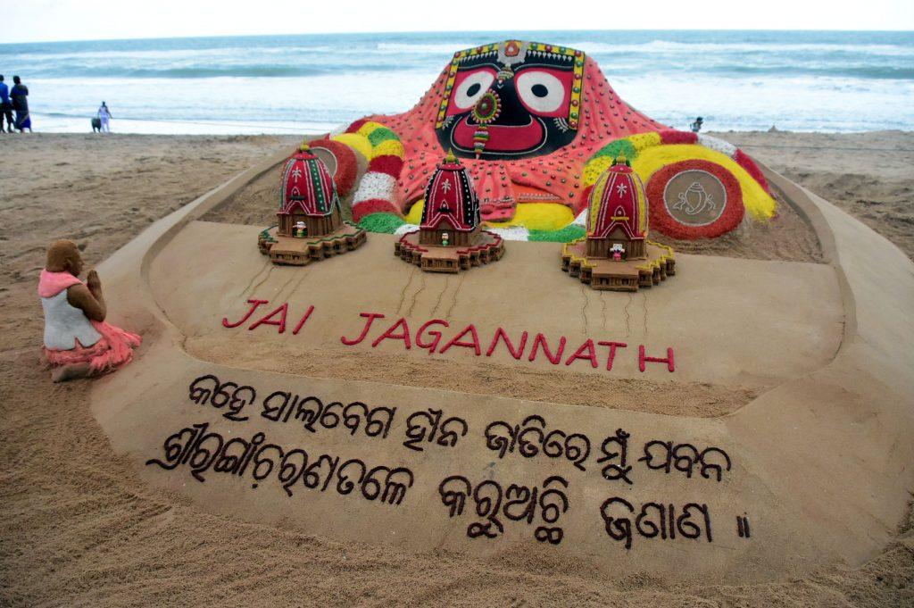 Art by Sudarshan Pattnaik on Puri beach heralding the Rath Yatra beginning July 14