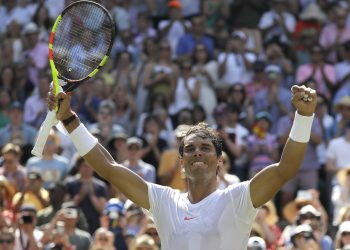 Rafael Nadal celebrates after winning against Alex de Minaur in London, Saturday