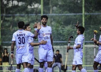 Rupinder Pal Singh celebrates after scoring the opening goal for India against New Zealand, Saturday