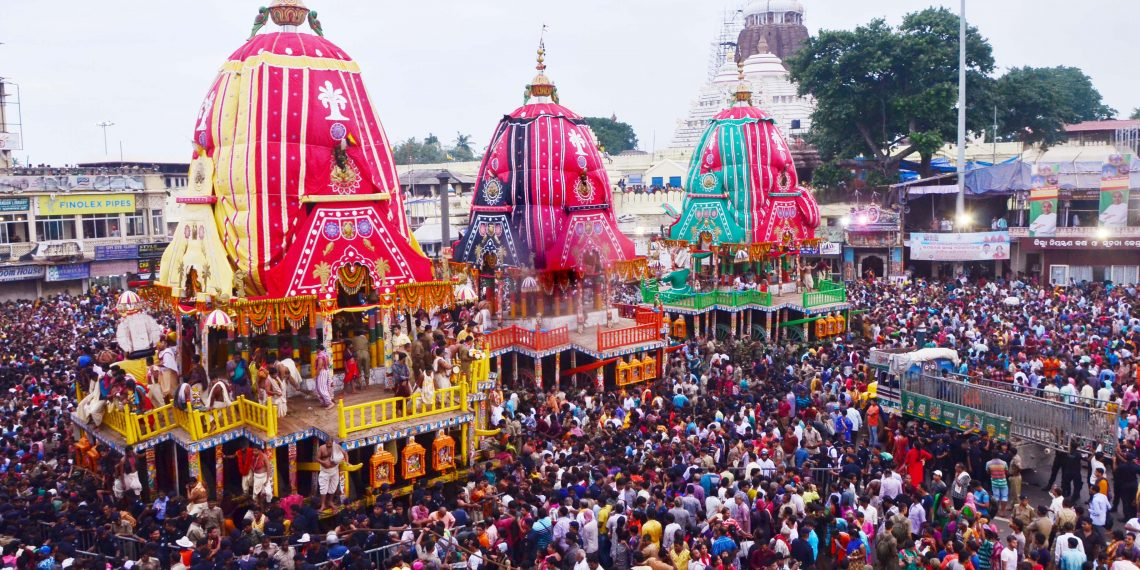The chariots of Lord Jagannath, Lord Balabhadra and Devi Subhadra  in front the Lions' Gate of Srimandir, Sunday.