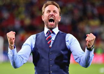 England manager Gareth Southgate is all pumped up after his side's shootout win against Colombia, Tuesday