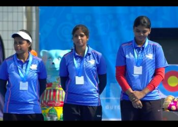 The team of Jyothi Surekha Vennam, Muskan Kirar and Trisha Deb had to settle for silver at the Berlin Archery World Championships