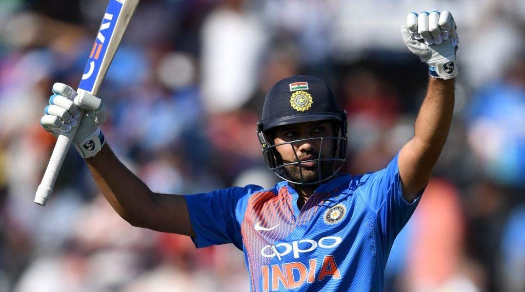 Rohit Sharma celebrates after his century against England, Sunday