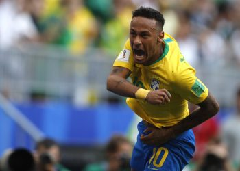 Neymar celebrates after scoring his Brazil's opening goal against Mexico at  the Samara Arena, Russia