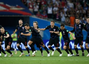 Croatia players celebrate after their win over Russia in the World Cup quarterfinal at Sochi, Saturday