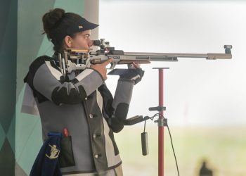 Shooter Anjum Moudgil competes in the Women's 50m rifle 3 positions event at the Asian Games in Indonesia