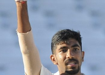 Jasprit Bumrah shows off the match ball after completing his five-wicket haul, Tuesday