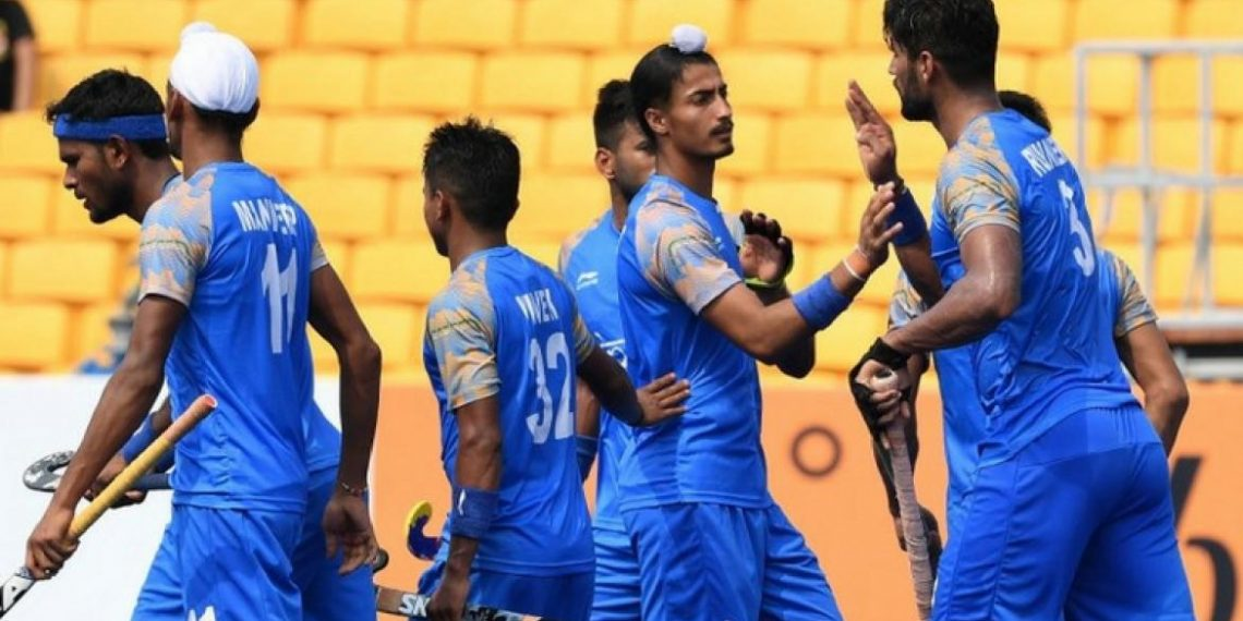 Indian players celebrate after scoring one of their goals against Sri Lanka at Jakarta, Tuesday